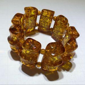 Vintage amber resin beaded stretch bracelet